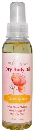 Dry Body Oil, Citrus Splash, Light and Absorbs Fast with Argan & Marula Oils + Shea Butter, 4 fl. oz. (118 mL) by Madre Labs, 沐浴,美容,香水噴霧,madre labs身體護理 HK 香港