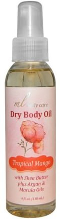 Dry Body Oil, Tropical Mango, Light and Absorbs Fast with Argan & Marula Oils + Shea Butter, 4 fl. oz. (118 mL) by Madre Labs, 沐浴,美容,香水噴霧,madre labs身體護理 HK 香港