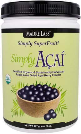 Madre Labs, Simply Acai Organic Powder, 8 oz (227 g) 補品,水果提取物,超級水果,阿薩伊粉