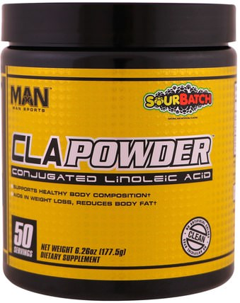 CLA Powder, Conjugated Linoleic Acid, Sour Batch, 6.26 oz (177.5 g) by MAN Sport, 減肥,飲食,cla(共軛亞油酸),運動 HK 香港