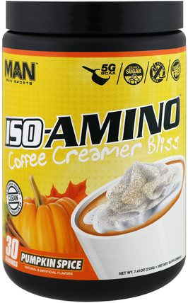 ISO-Amino Coffee Creamer Bliss, Pumpkin Spice, 7.41 oz (210 g) by MAN Sport, 運動,補品,bcaa(支鏈氨基酸) HK 香港