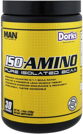 ISO-Amino, Pure Isolated BCAA, Dorks, 7.41 oz (210 g) by MAN Sport, 運動,補品,bcaa(支鏈氨基酸) HK 香港