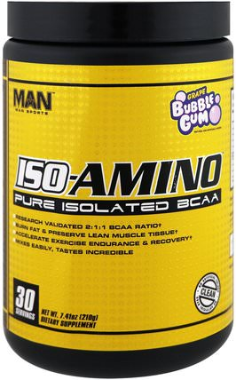 ISO-Amino, Pure Isolated BCAA, Grape Bubble Gum, 7.41 oz (210 g) by MAN Sport, 運動,補品,bcaa(支鏈氨基酸) HK 香港