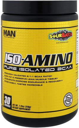 ISO-Amino, Pure Isolated BCAA, Sour Batch, 7.41 oz (210 g) by MAN Sport, 運動,補品,bcaa(支鏈氨基酸) HK 香港