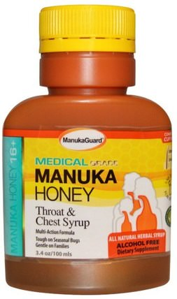 Manuka Honey 16+, Throat & Chest Syrup, Alcohol Free, 3.4 oz (100 ml) by Manuka Guard, 兒童健康,感冒感冒咳嗽,感冒感冒和病毒,咳嗽糖漿 HK 香港