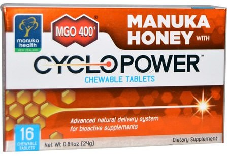 Manuka Health, MGO 400+, Manuka Honey with CycloPower, 16 Chewable Tablets 健康,肺和支氣管,咳嗽滴