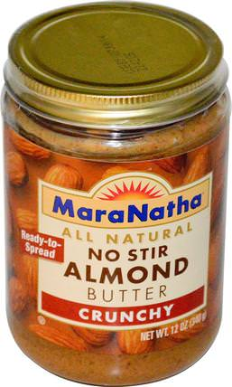 No Stir Almond Butter, Crunchy, 12 oz (340 g) by MaraNatha, 食物,堅果黃油,杏仁黃油 HK 香港
