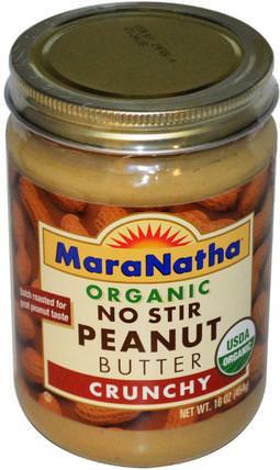 Organic No Stir Peanut Butter, Crunchy, 16 oz (454 g) by MaraNatha, 食物,花生醬 HK 香港