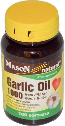 Garlic Oil 1000, 100 Softgels by Mason Naturals, 補充劑,抗生素,大蒜油,健康 HK 香港