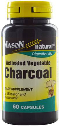 Activated Vegetable Charcoal, 60 Capsules by Mason Naturals, 補品,礦物質,活性炭 HK 香港