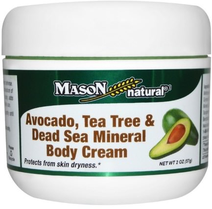 Avocado, Tea Tree & Dead Sea Mineral Body Cream, 2 oz (57 g) by Mason Naturals, 美容,面部護理,面霜,乳液,沐浴,潤膚露 HK 香港