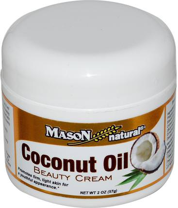 Coconut Oil Beauty Cream, 2 oz (57 g) by Mason Naturals, 食物,椰子油,椰子油皮 HK 香港