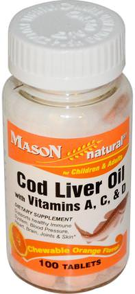 Cod Liver Oil, with Vitamins A, C, & D, Chewable Orange Flavor, 100 Tablets by Mason Naturals, 補充劑,efa omega 3 6 9(epa dha),魚肝油 HK 香港