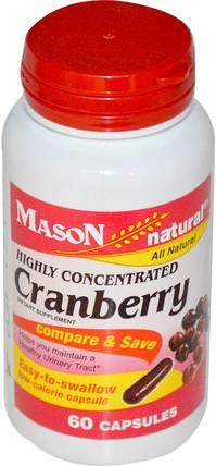 Cranberry, Highly Concentrated, 60 Capsules by Mason Naturals, 草藥,蔓越莓 HK 香港