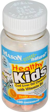 Healthy Kids Cod Liver Oil Chewable with Vitamin D, Tasty Orange Flavor, 100 Chewables by Mason Naturals, 補充劑,efa omega 3 6 9(epa dha),魚肝油,兒童健康,兒童補品 HK 香港