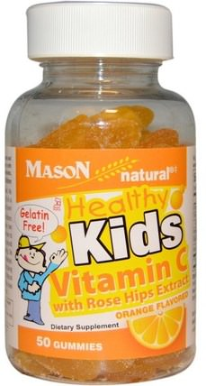 Healthy Kids Vitamin C with Rose Hips Extract, Orange Flavored, 50 Gummies by Mason Naturals, 維生素,維生素C,維生素C gummies,兒童健康,兒童gummies HK 香港
