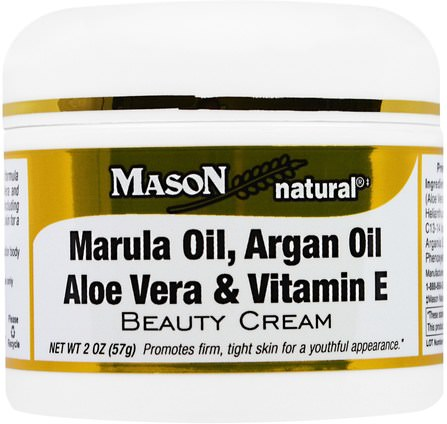 Marula Oil, Argan Oil Aloe Vera & Vitamin E Beauty Cream, 2 oz (57 g) by Mason Naturals, 美容,面部護理,皮膚類型抗衰老皮膚,面霜乳液,精華素 HK 香港