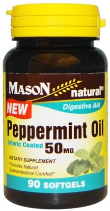 Peppermint Oil, 50 mg, 90 Softgels by Mason Naturals, 草藥,薄荷 HK 香港