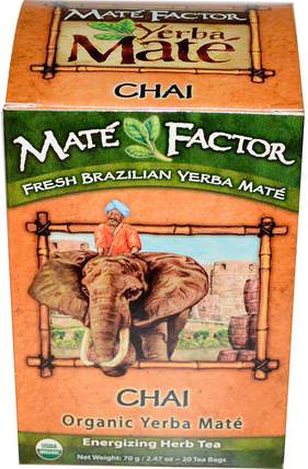 Organic Yerba Mat, Chai, 20 Tea Bags, 2.47 oz (70 g) by Mate Factor, 食物,涼茶,馬黛茶,柴茶 HK 香港