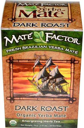 Mate Factor, Organic Yerba Mate, Dark Roast, 20 Tea Bags, 2.47 oz (70 g) 食物,咖啡黑烤,涼茶,馬黛茶