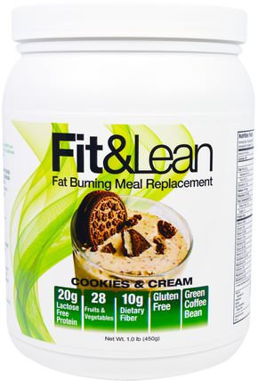 Fit & Lean, Fat Burning Meal Replacement, Cookies & Cream, 1.0 lb (450 g) by Maximum Human Performance, 補品,代餐奶昔,減肥,飲食 HK 香港