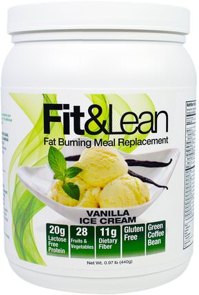 Maximum Human Performance, Fit & Lean, Fat Burning Meal Replacement, Vanilla Ice Cream, 0.97 lb (440 g) 補品,代餐奶昔,減肥,飲食