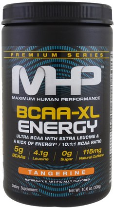 Premium Series, BCAA-XL Energy, Tangerine, 10.6 oz (300 g) by Maximum Human Performance, 健康,能量,補充劑,氨基酸,bcaa(支鏈氨基酸) HK 香港