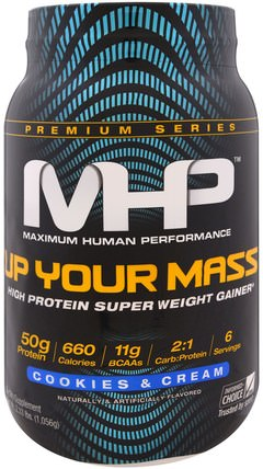 Up Your Mass, High Protein Super Weight Gainer, Cookies & Cream, 2.33 lbs (1.056 g) by Maximum Human Performance, 運動,運動 HK 香港