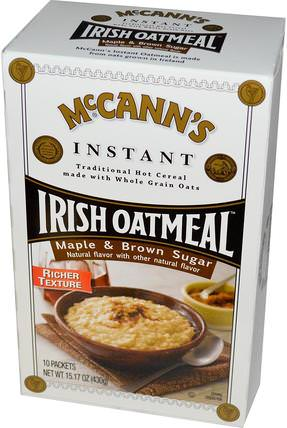 Instant Oatmeal, Maple & Brown Sugar, 10 Packets, 43 g Each by McCanns Irish Oatmeal, 食物,食物,穀物 HK 香港