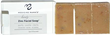 Beauty Zinc Facial Soap, 3 pc, 3.75 oz by Medicine Mamas, 美容,面部護理,皮膚,健康,皮炎 HK 香港