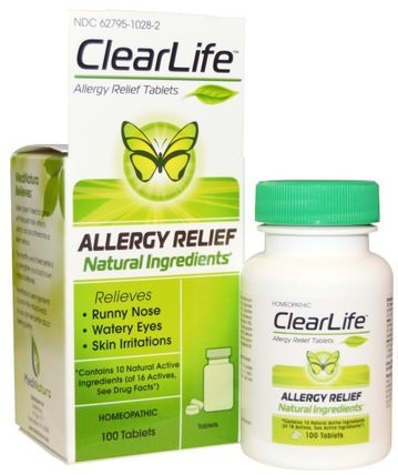 ClearLife, Allergy Relief Tablets, 100 Tablets by MediNatura, 補品,順勢療法,過敏,過敏 HK 香港