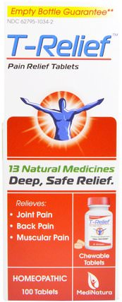 T- Relief, Pain Relief Tablets, 100 Tablets by MediNatura, 補品,順勢療法,抗疼痛 HK 香港