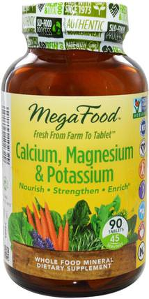 Calcium, Magnesium & Potassium, 90 Tablets by MegaFood, 補充劑,礦物質,鈣和鎂 HK 香港