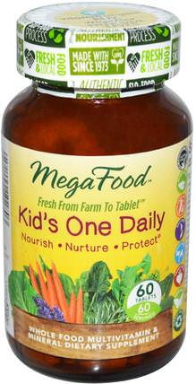 Kids One Daily, 60 Tablets by MegaFood, 維生素,多種維生素,兒童多種維生素 HK 香港