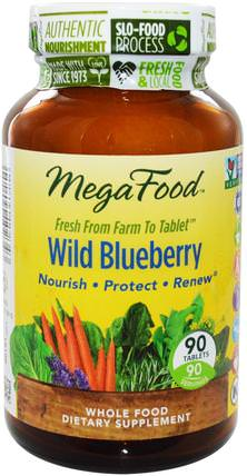 Wild Blueberry, 90 Tablets by MegaFood, 草藥,藍莓 HK 香港
