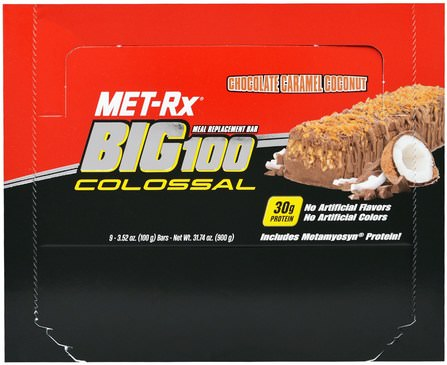 Big 100 Colossal, Meal Replacement Bar, Chocolate Caramel Coconut, 9 Bars, 3.52 oz (100 g) Each by MET-Rx, 補品,營養棒,小吃 HK 香港