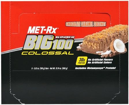 MET-Rx, Big 100 Colossal, Meal Replacement Bar, Chocolate Caramel Coconut, 9 Bars, 3.52 oz (100 g) Each 補品,營養棒,小吃