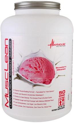MuscLean, Lean Muscle Weight Gainer, Strawberry Milkshake, 5 lbs by Metabolic Nutrition, 運動,補品,乳清蛋白 HK 香港