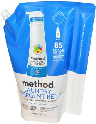 Laundry Detergent Refill, 85 Loads, Fresh Air, 34 fl oz (1020 ml) by Method, 家裡,洗衣粉 HK 香港