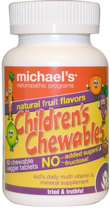 Childrens Chewables, Natural Fruit Flavors, 60 Chewable Veggie Tablets by Michaels Naturopathic, 維生素,多種維生素,兒童多種維生素 HK 香港