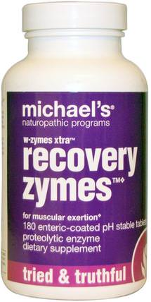W-Zymes Xtra, Recovery Zymes, 180 Enteric-Coated Tablets by Michaels Naturopathic, 補充劑,酶,蛋白水解酶 HK 香港