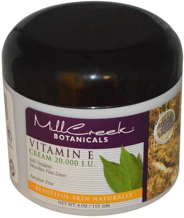 Vitamin E Cream, 20.000 IU, 4 oz (113 g) by Mill Creek, 健康,皮膚,維生素E油霜,美容,面部護理,面霜,乳液 HK 香港