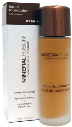 Mineral Fusion, Liquid Foundation, Deep 1, 1.0 fl oz (30 ml) 洗澡,美容,化妝,液體化妝