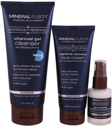 Overnight Renewal, Deluxe Set, 3 Piece Set by Mineral Fusion, 美容,面部護理 HK 香港
