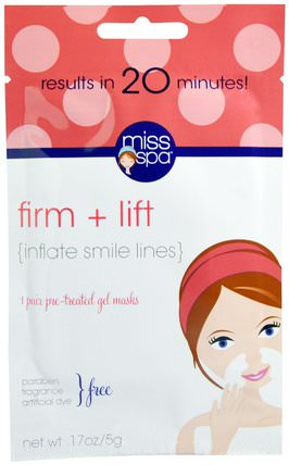 Firm + Lift, 1 Pair Pre - Treated Gel Masks, 0.17 oz (5 g) by Miss Spa, 美容,面膜,面膜,面部護理,皮膚類型中性至乾性皮膚 HK 香港