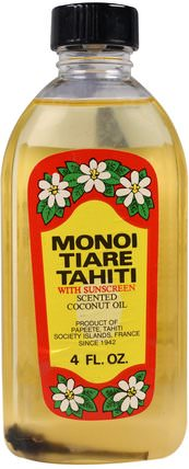 Sun Tan Oil With Sunscreen, 4 fl oz (120 ml) by Monoi Tiare Tahiti, 沐浴,美容,椰子油皮 HK 香港