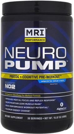 MRI, Neuro Pump, Precog, Cognitive Pre-Workout, Electric Blue Razz, 15.87 oz (450 g) 運動,鍛煉