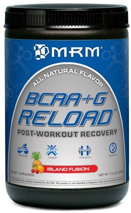 BCAA+G Reload, Post-Workout Recovery, Island Fusion, 11.6 oz (330 g) by MRM, 補充劑,氨基酸,bcaa(支鏈氨基酸),運動,運動 HK 香港