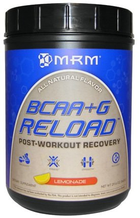 BCAA + G Reload, Post-Workout Recovery, Lemonade, 29.6 oz (840 g) by MRM, 補充劑,氨基酸,bcaa(支鏈氨基酸),運動,運動 HK 香港