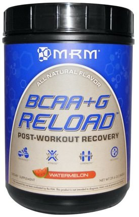 BCAA + G Reload, Post-Workout Recovery, Watermelon, 29.6 oz (840 g) by MRM, 補充劑,氨基酸,bcaa(支鏈氨基酸),運動,肌肉 HK 香港